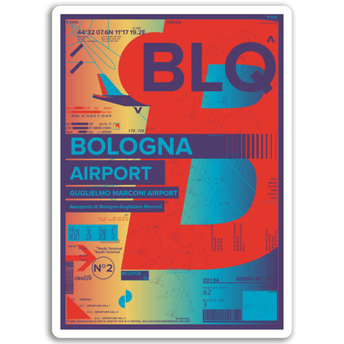 2 x 10cm Bologna Airport Vinyl Stickers Italy Sticker Laptop Luggage #17183