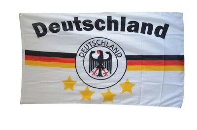 Fahne Fan Flagge Deutschland Lorbeerkranz 4 Sterne Fußball Hissflagge 90x150cm