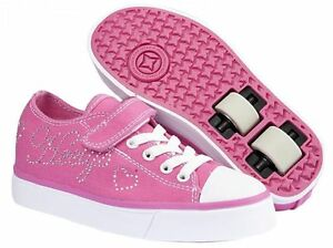 Heelys-HX2-Snazzy-Kids-039-Size-Wheel-Shoes-Trainers-Skates-Pink-White