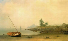 Oil painting Heade Martin Johnson American artist The Stranded Boat Hand painted