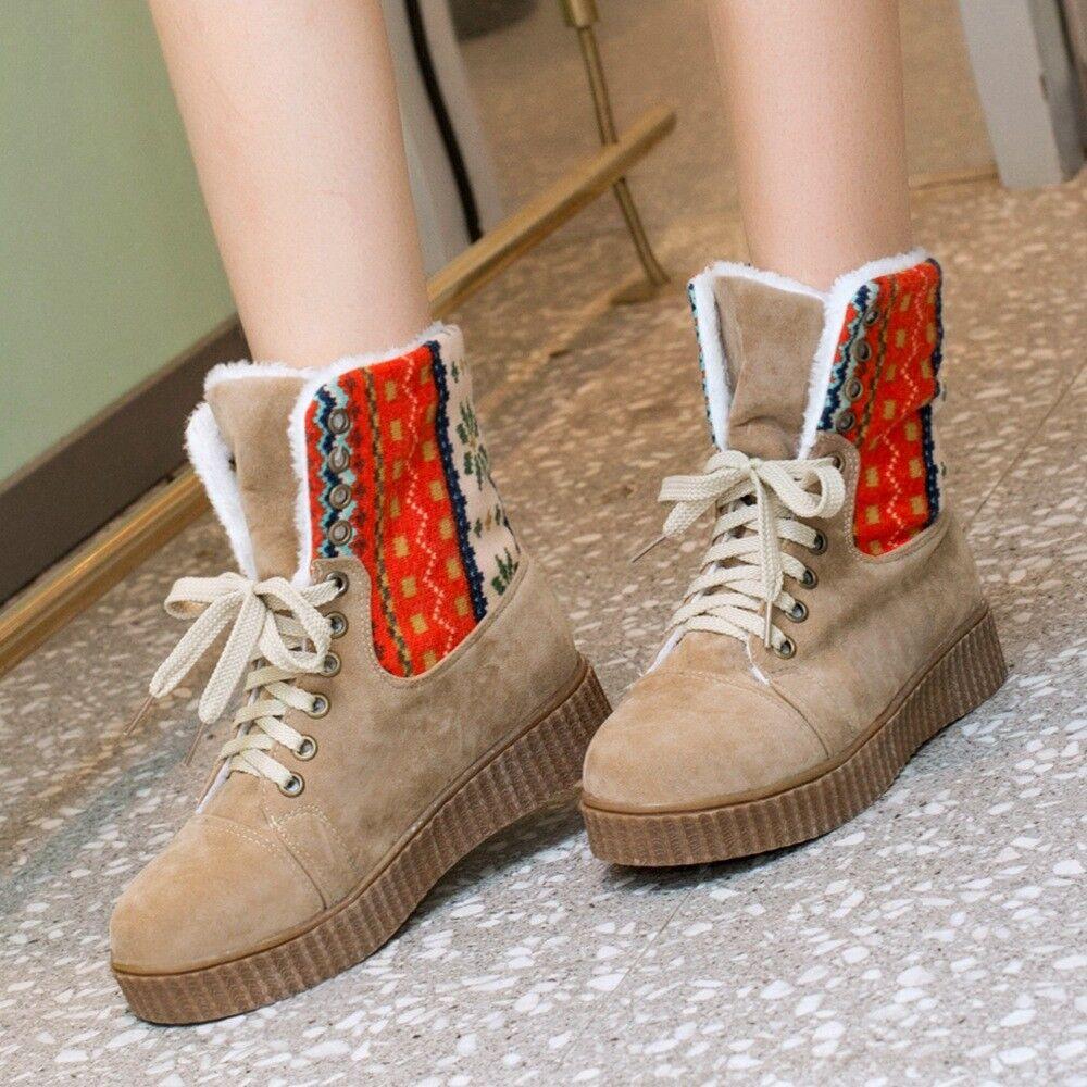 Women Ankle Snow Short Boots Plush Flats Plus Lace Up Size Casual Winter shoes