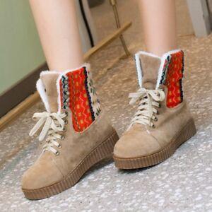 Women-Ankle-Snow-Short-Boots-Plush-Flats-Plus-Lace-Up-Size-Casual-Winter-Shoes