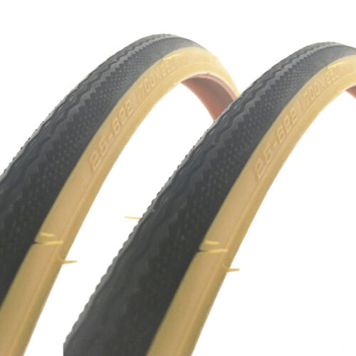 2x Raleigh CST 700 x 25c Traditional Gumwall Tan Road Bike Tyres T1216