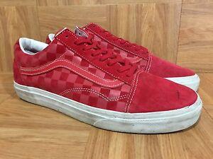 71e546cd5ca6a6 RARE🔥 VANS Old Skool Red Suede Faded Checkerboard Print California ...