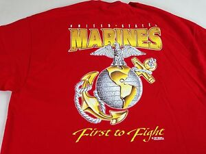 Marines-T-Shirt-First-To-Fight-VTG-90s-Mens-XL-Red-Military-USA-Made-American