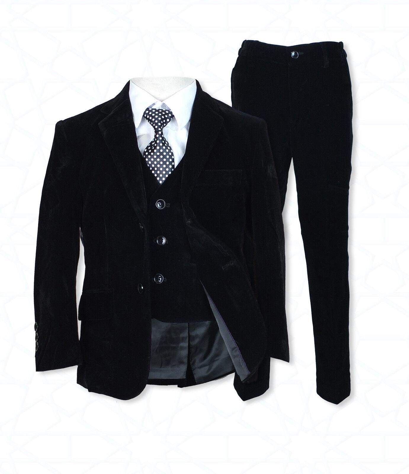 5 pc jungen schwarz velvet anzug pagen anz ge for Hochzeitsanzug baby junge