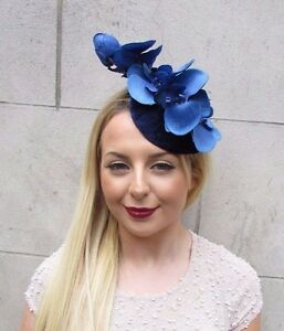 Details about Navy Royal Blue Velvet Orchid Flower Fascinator Hat Races  Hair Clip Vintage 2597 58c137bfc90