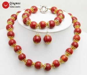 9-10mm-Red-Round-Natural-Coral-Earring-amp-Bracelet-amp-Necklace-Woman-Jewelry-Set