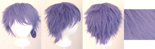 11/'/' Short Messy Spiky Bellflower Purple Synthetic Cosplay Wig NEW