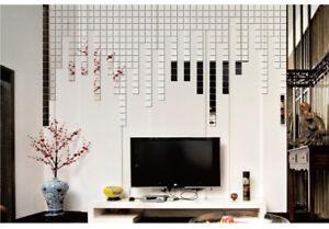 10Pcs Squre 3D Acrylic Mirror Tile Wall Stickers Mosaic Room Makeup Home Decor