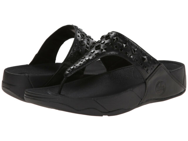 Women FitFlop Biker Chic Leather Sandal 474-090 Black 100% Authentic Brand New