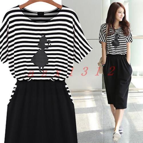 Summer Long Dress Women Loose College Slim Stripe Chic Short Sleeve Round Collar