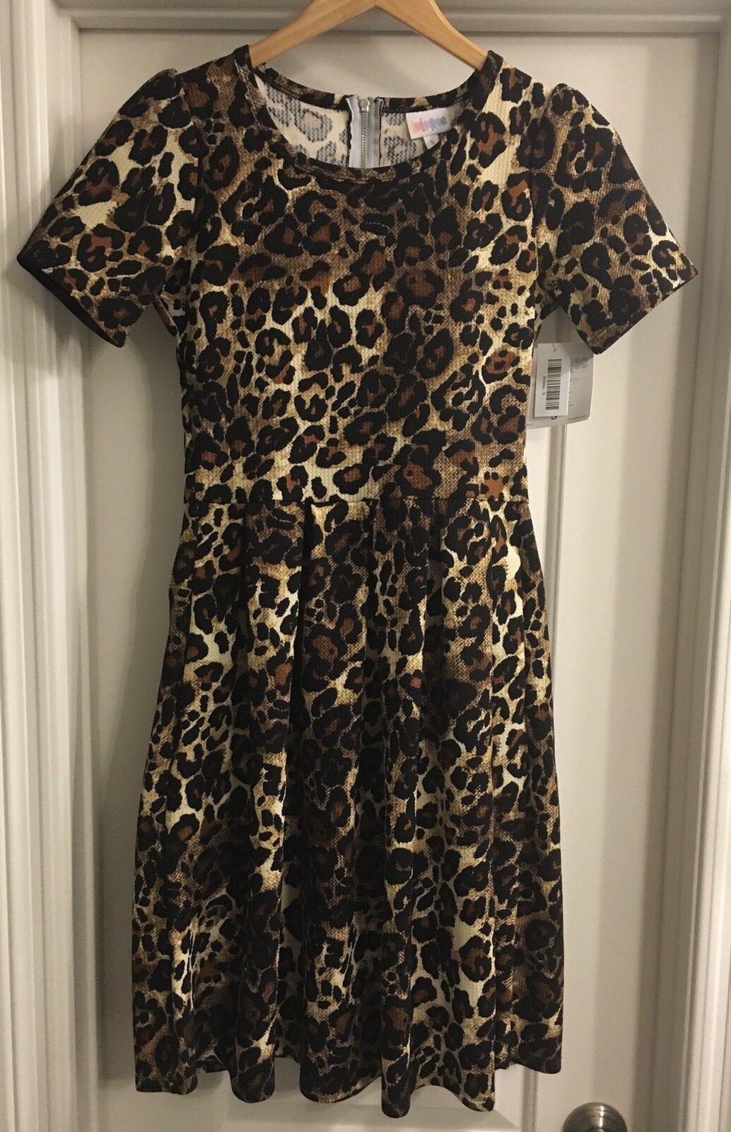 Lularoe LLR vintage Amelia robe petit Leopard Cheetah schwarz braun tan Neuf avec étiquettes
