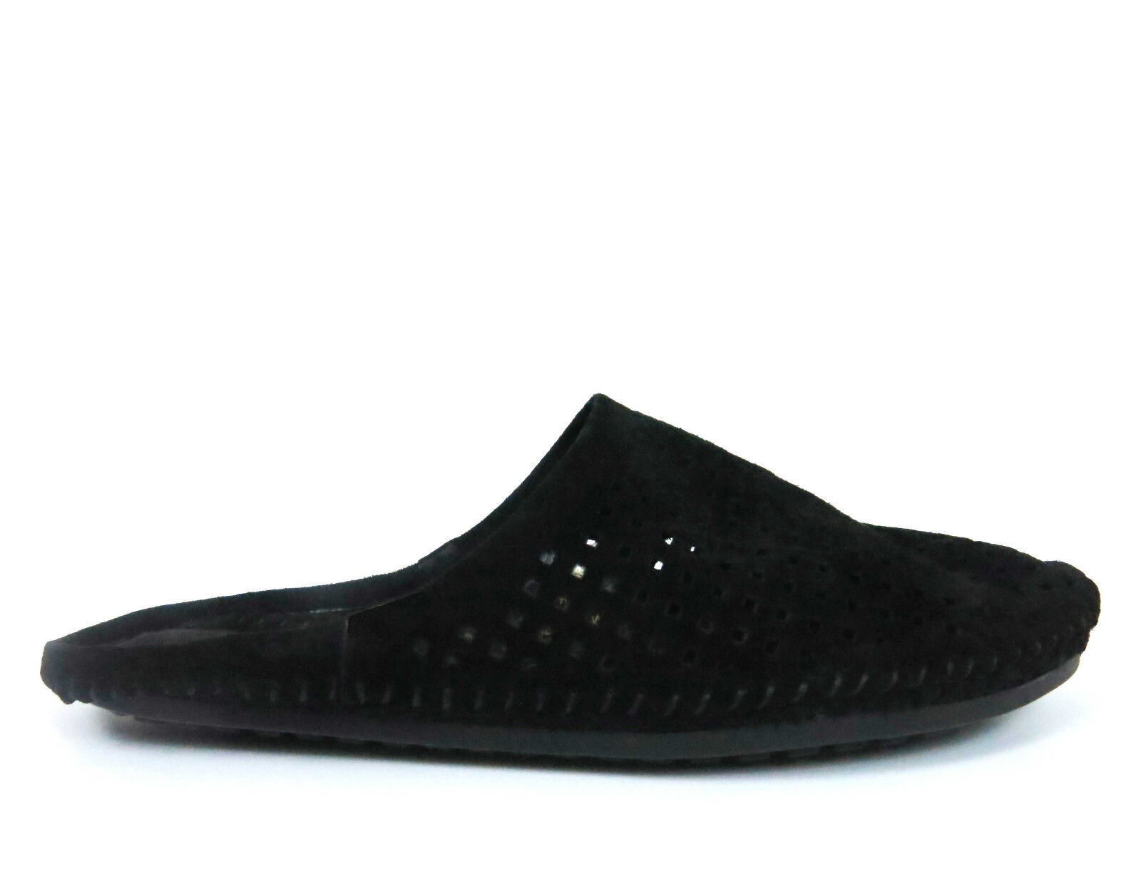 BCBGeneration Women's Slides Slip-On Perforated Suede Leather Black 6