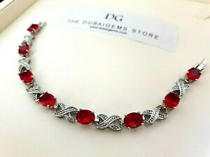 White-gold-finish-red-ruby-and-created-diamond-love-and-kisses-tennis-bracelet