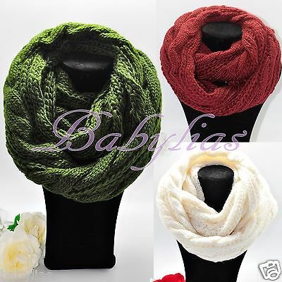 Womens Infinity Scarf Long Winter Warm Knitted Scarves Shawl Neck Wrap Fashion