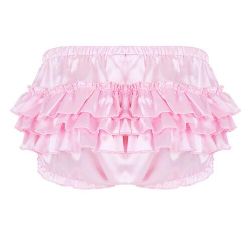 Mens Satin Ruffle Shorts Bloomer Skirted Lingerie Pouch Panties Briefs Underwear
