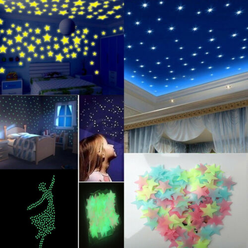 100pcs Glow In The Dark Luminous 3D Stars Moon Sticker Home Wall Room Decor DIY