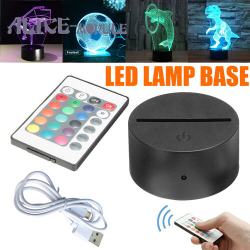 USB Cable+Remote B2AM ABS Acrylic Black 3D Colorful Panel LED Lamp Night Base