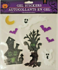 Halloween Window Clings HAUNTED HOUSE WITH GHOSTS AND BATS