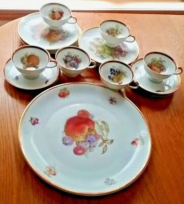 "Bavarian China Tea SERVICE 6 Cake Plates 6 sets Cup & Saucer & 12"" Serving Plate"