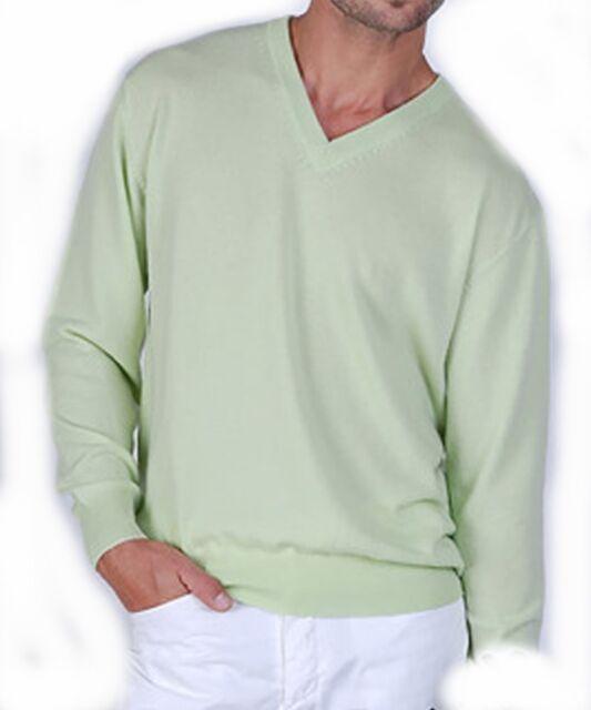Balldiri 100% Cashmere Kaschmir Herren Pullover V Ausschnitt helles grün XL