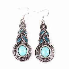 New Jewelry Elegant Antique Silver Pld Turquoise Gourd Crystal Dangle Earrings