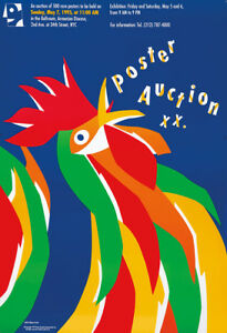 Original-Vintage-Poster-Niklaus-Troxler-Rooster-Cock-Barn-Animal-Auction-Bird