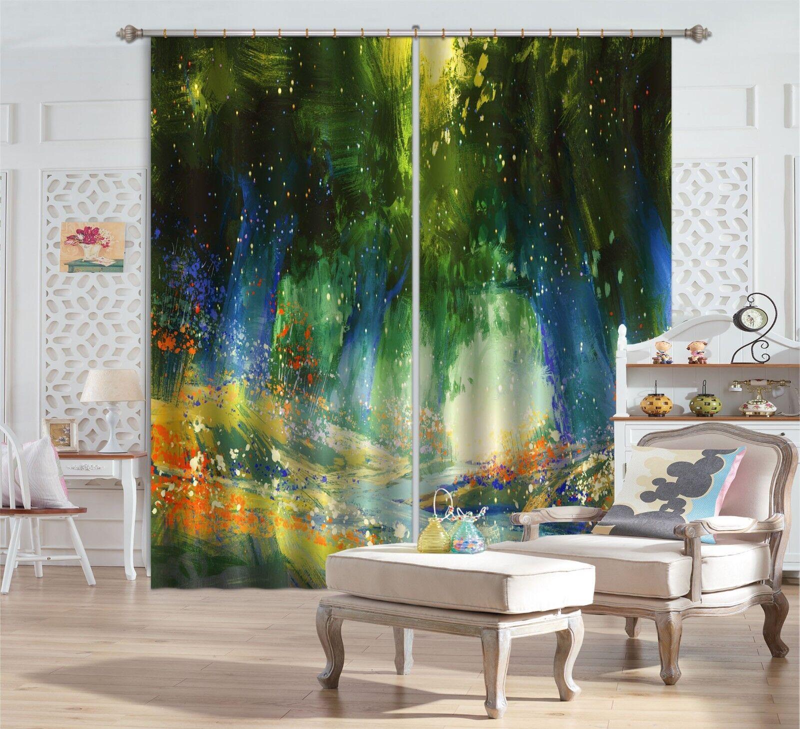 Flor de aceite 3D 3 Cortinas de impresión de cortina de foto Blockout Tela Cortinas Ventana au