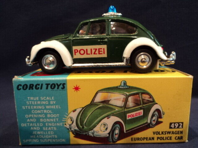 Corgi Rare 1960's Volkswagen Beetle Euro Police Car Nr  492 MINT Ex Shop Stock