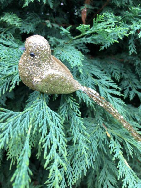 1 Paio + Oro Scintillante Uccellino Decorazioni Di Natale/regalo/gift Topper-sent/gift Topper