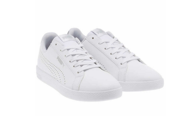 88f579c3bd33 PUMA Smash Womens Perf MET 10 Med Leather Tennis Shoes White Silver 36623801