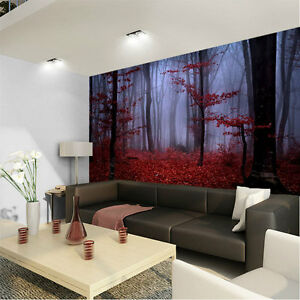 Foggy forest red autumn foliage 3d full wall mural photo for Diy photographic mural