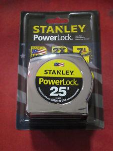 25' Stanley Ruban Règle Mesure Powerlock # 33-425 Règle-cardée-afficher Le Titre D'origine Brillant En Couleur