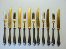 Chippendale 12 teiliges Obstbesteck 6 Personen 90er Silber & Vergoldung / * hgn