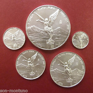 2013-SILVER-LIBERTAD-5-COIN-SET-1-Oz-amp-Fractionals-Half-Quarter-1-10-1-20-MEXICO