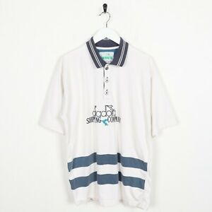 Vintage-90-s-DIADORA-enoncent-Polo-Shirt-Top-Blanc-Large-L