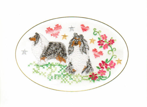 Rough Collie Merle Valentine Card Embroidered by Dogmania