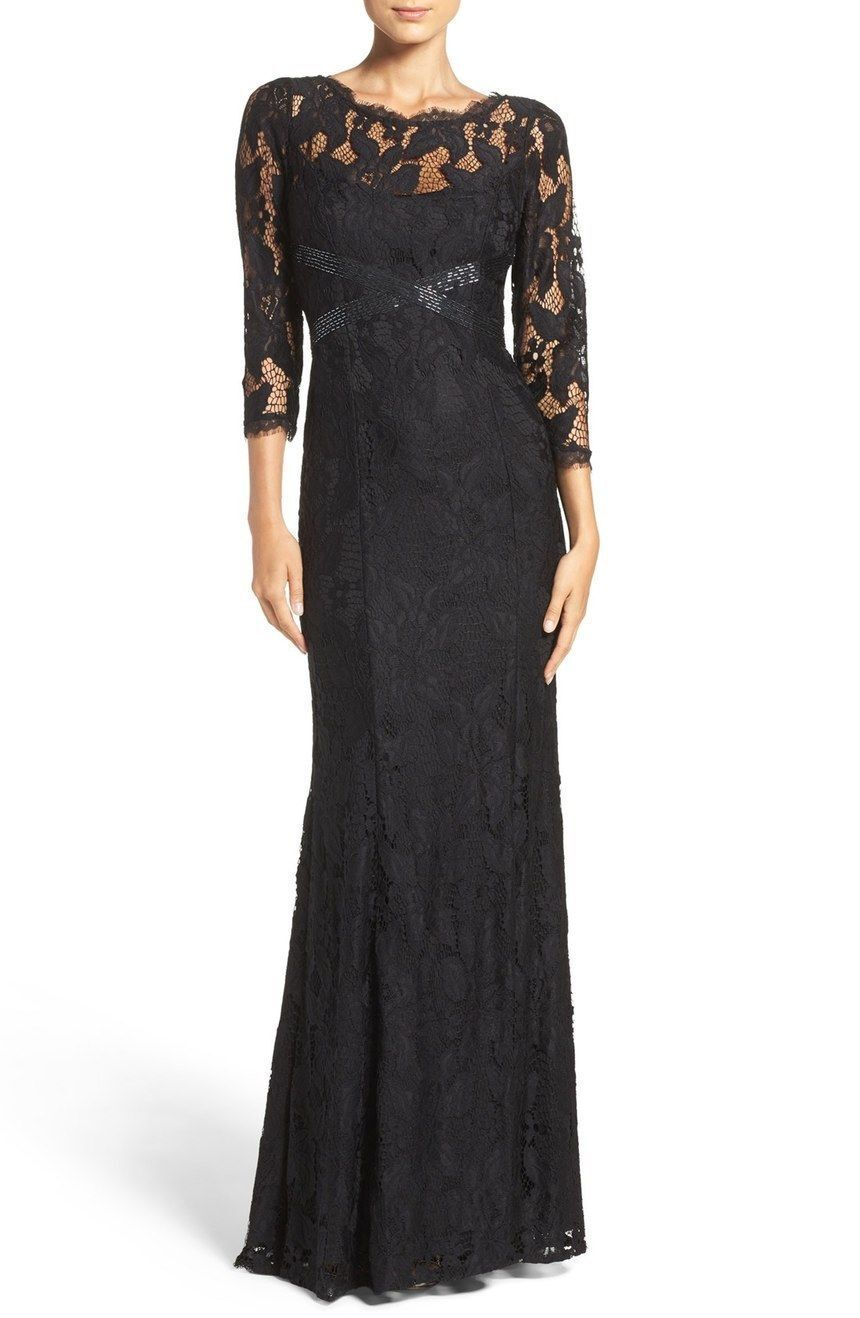 Adrianna Papell Black Illusion Yoke Lace Gown 3/4 Sleeve NWT All Sizes