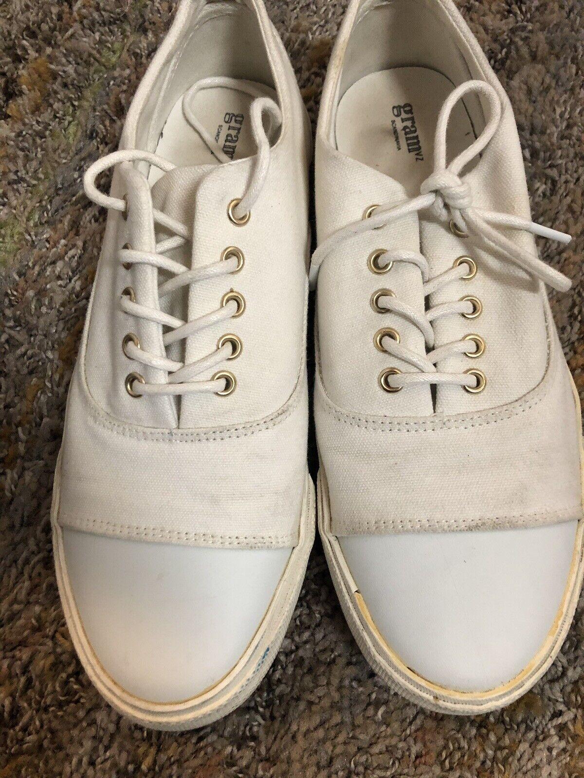 Gram Scandinavia Mens 352g White Canvas Sneakers US Sizs 8.5