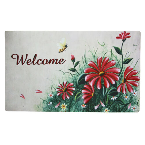 """Non-Slip Home Fashion Owls Flowers Vinyl Backed Painting Welcome Mats 29/""""X 17/"""""""