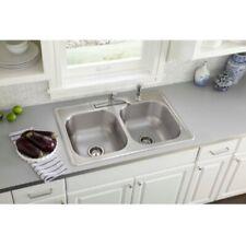 Elkay Kitchen Sink Kit 33 in. Double Bowl All-in-One Drop-In Stainless Steel
