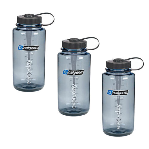 Nalgene 32oz Wide Mouth Tritan Everyday Gray with Blk Cap 3 Pack