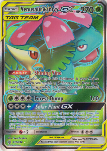 Pokemon SM12 Cosmic Eclipse Venusaur /& Snivy GX Full Art Card 210//236