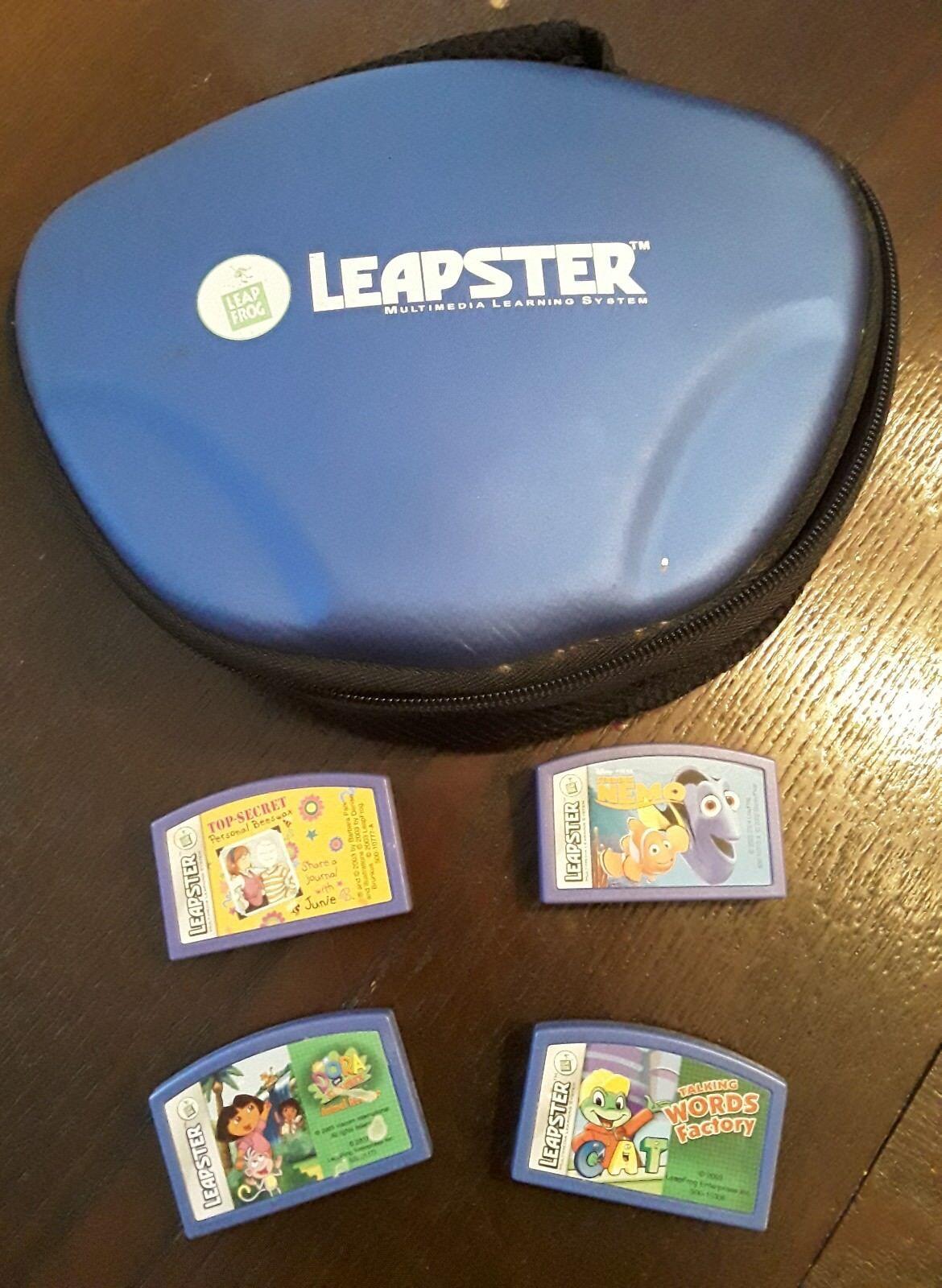 Lot Of 4 Leapster Games Cartridges + Case Nemo, Dora, Word Factory, Top Secret