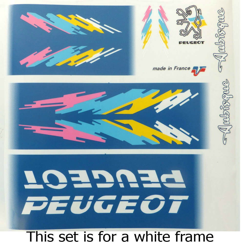 Peugeot set of decals panel style for white frame   select from the newest brands like
