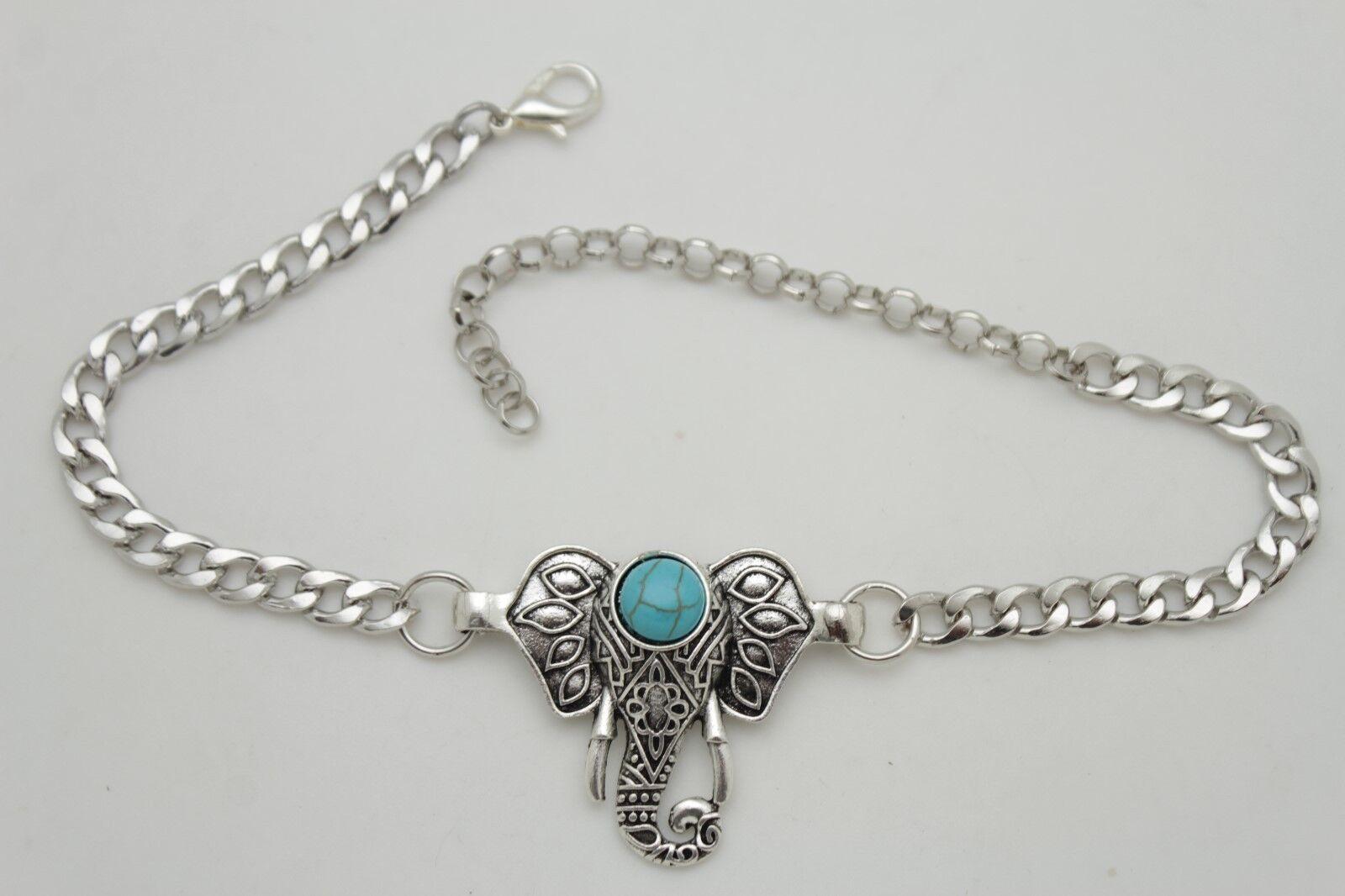 Fun Women Boot Chain Silver Metal Shoe Turquoise Blue Bead Indian Elephant Charm