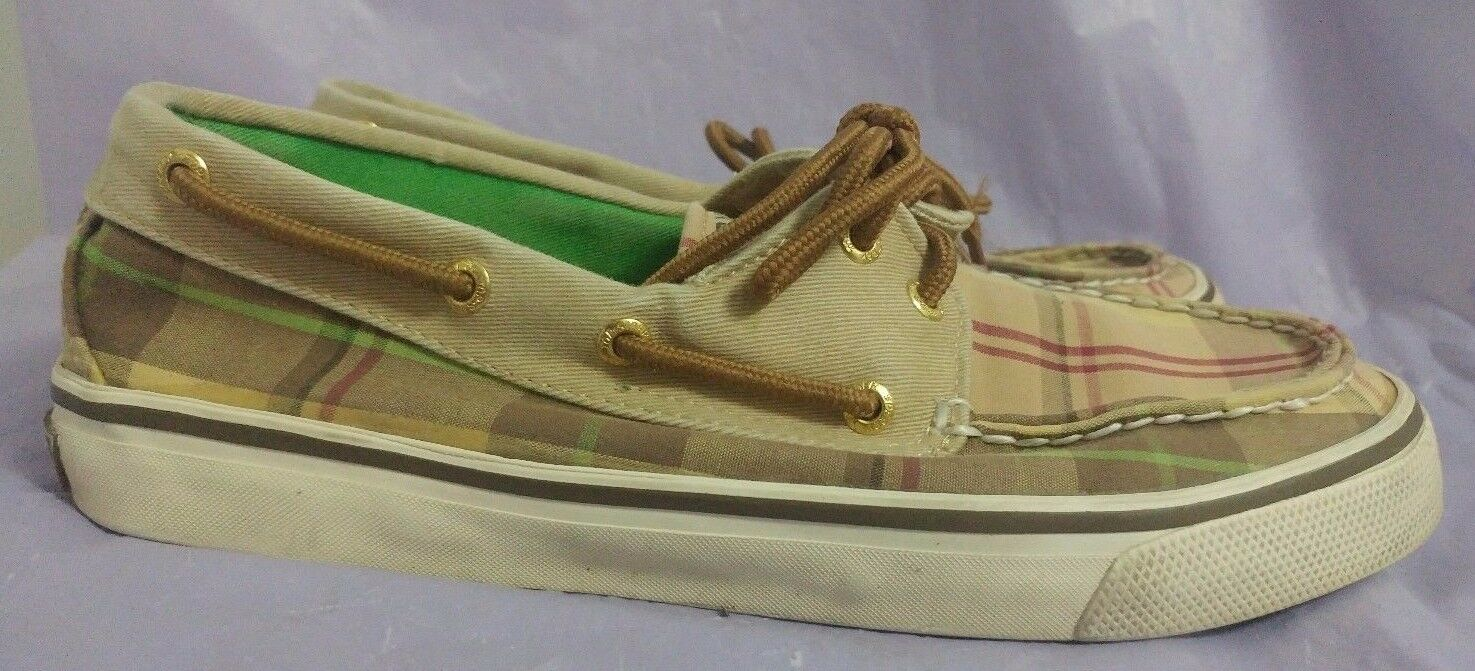 SPERRY TOPSIDER Women's Bahama Tan Plaid Boat Shoes Size 6.5 M