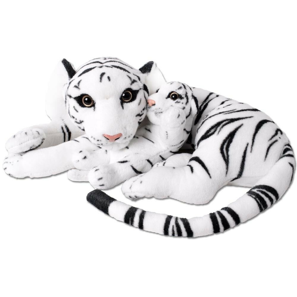 Te-trend 2in1 Stuffed Tiger Tiger Baby Big Cat Cuddly Toy 60cm Stuffed Toy White