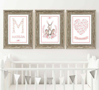 Personalised Dumbo Elephant Nursery Pictures Set of 3 Baby Gift A4 Prints Only